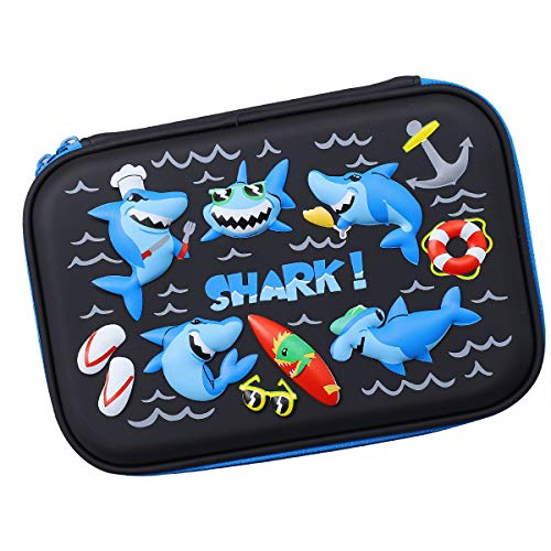 Baby Shark Embossed Hardtop Pencil Case - Cute Boys School Supply Stationery Organizer - Large Capacity Pen Box Pouch Bag For Kids (Black)