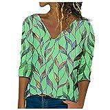 Camiseta de manga larga con cuello en V, estampado de hojas y estampado de hojas, verde, XL
