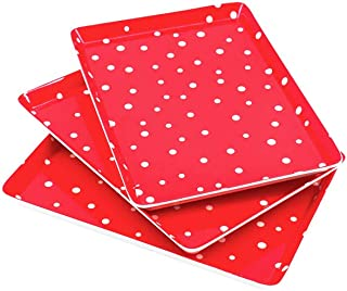 "GWPP Melamine Plastic Rectangular Serving Tray 10-7/8"" x 7-7/8"" x 3/4"", Set of 3. for restaurant indoor or outdor picnic camping. (Red and white) T8512"