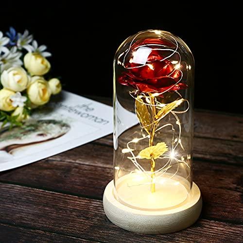 La Bella y la Bestia rosa de éterna rosa en cúpula de cristal con luz LED, flores artificiales, base de madera, lámparas de decoración de regalo – Rojo