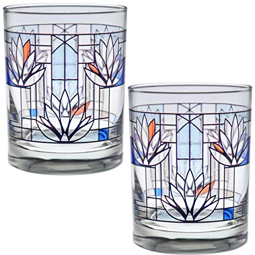 Frank Lloyd Wright DOF Double Old Fashioned Glass 14-Ounce (Gift Boxed Set of 2, Waterlilies)