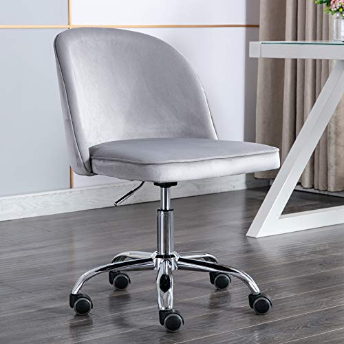 Kmax Task Chair, Desk Chair Armless Design for Small Home and Office, Silver Grey