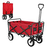 SNAN Collapsible Utility Wagon, Heavy Duty Folding Outdoor Garden Cart, Rubber Wheels W/Brake and Drink Holder, Adjustable Handles, Double Fabric, Suit for Garden, Sports, Camping, Picnic (Red)