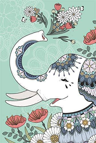 Puzzle De 1000 Piezas para Adultos,Rompecabezas De Madera para Adultos, Patrón De Flores De Elefante De Dibujos Animados, Difícil Y Desafío Alivio del Estrés DIY Familia Personalizada Niños Intel