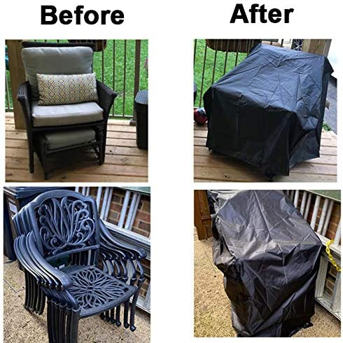 1 Pack - 29.5 L X 29.5 W X 47 H, Black WOMACO Stackable Patio Chair Cover Waterproof Outdoor Stacking High Back Chair Cover Water Resistant Outside Furniture Tall Chair Protector