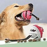 USWT Hunde-Leckerli-Ball mit Glöckchen, zum Aufrüsten von Hundefutter, mit Sound, zum Reinigen von Zähnen und Kauen, Rot/Weiß