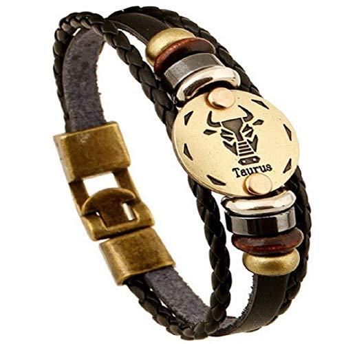 Armband - horoscoop - armband - vriendschap - sterrenbeeld - bruin - imitatieleer - man - vakantie cadeau idee - vrouw - unisex - valentijnsdag - sieraden