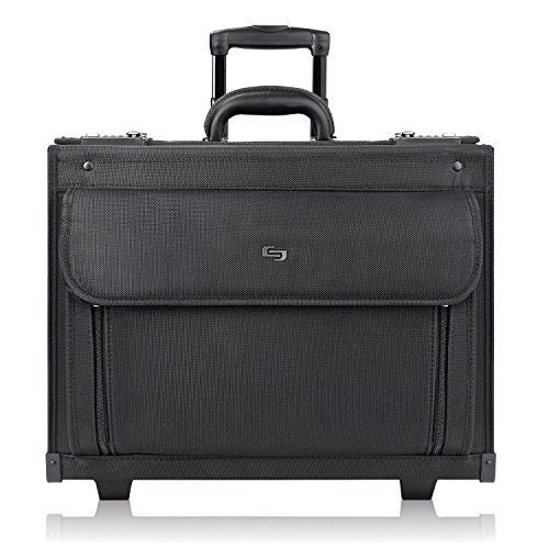 Solo New York Classic Rolling Hard Sided Catalog Case With Dual Combination Locks, Black
