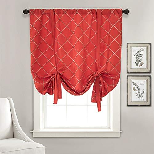 BERTERI Stylish Geometric Embroidered Tie Up Curtain Balloon Shades Room Darkening Valance for Bedroom Kitchen Rod Pocket Panel