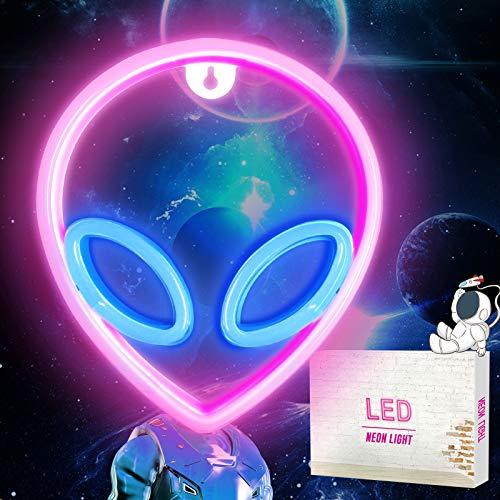 Außerirdischer LED Neonlicht Neonschilder, Cool Alien Shaped Neon Wall Sign, hängende USB / Batterie Nachtlichter für Kinder Schlafzimmer Bar Hotel Shop Wand Dekor Geburtstagsgeschenk (Pink and Blue)