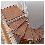 QWER-Alfombras de escalera Autoadhesivo Huellas De Escalón Mats Cojín Antideslizante Paso Protección Alfombra Alfombra De Escalera Cubierta De Cojín De La Escalera De Caracol De Color Sólido Alfombras