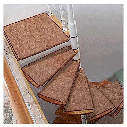 Stair Treads Carpet Non Slip Self-Adhesive Stair Treads Mats Pad Non-slip Step Protection Rug Cover Stair Carpet Solid Color Spiral Stair Cushion (Color : Turn right, Size : 5pcs 6033/12cm)
