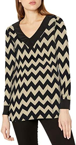 Star Vixen Womens Short Sleeve Drapeneck Print Top with Lace Inset