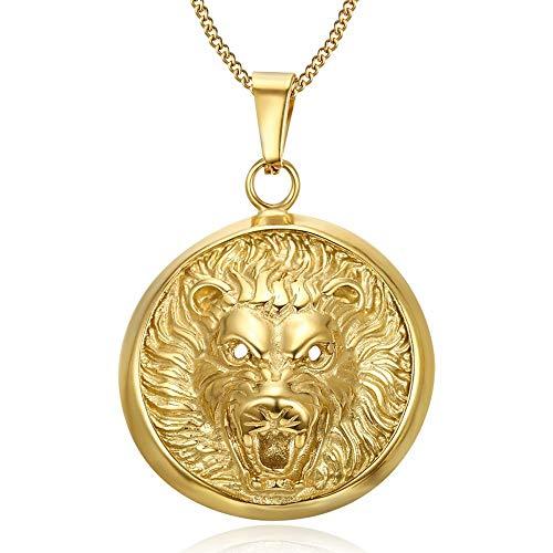 BOBIJOO Jewelry - Imposant Pendentif Collier Tête de Lion 3D Soleil Acier Or Doré Plaqué Chaîne