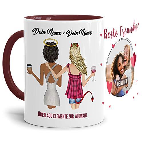 Personalisierbare Tasse - Beste Freundinnen - zum selbst Gestalten mit Wunschfoto und Wunschnamen als anpassbares Geschenk für die Beste Freundin - Innen & Henkel Weinrot, 300ml