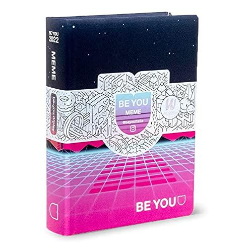 DIARIO SCUOLA Be You Be MEME - u Be yourself POCKET viola fucsia 2021-2022 + omaggio penna paillettes 6 colori in 1 e portachiave con paillettes