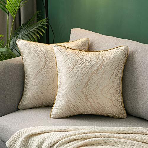 Dekorativ Kissenbezüge Quadrat Seide Weich Zierkissen Hüllen Set Kissenbezug für Sofa Schlafzimmer Auto 18 x 18 Zoll 45 x 45 cm Packung mit 2 Stück Orange