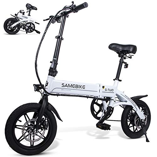 Samebike YINYU14 250W Folding Electric Bike 36V 8AH Lithium Battery Electric Bikes for Adults (White)