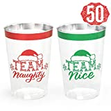 xo, Fetti Christmas Decorations Cups - 50 count, 12 oz | Team Naughty or Nice, Christmas Eve Disposable Drinkwear, Clear Plastic Cocktail Tumbler with Foil