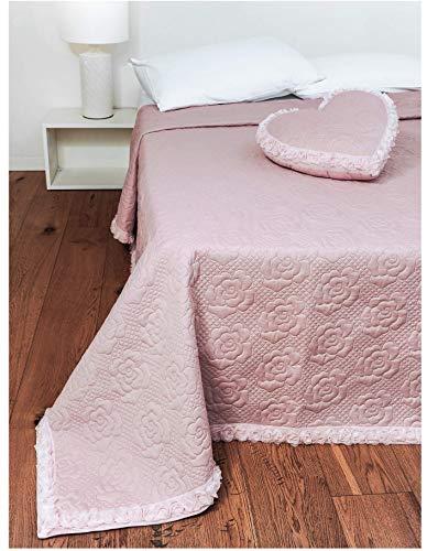 copriletto matrimoniale trapuntato estivo trapuntino 100 grammi 4 colori modello roses (rosa)