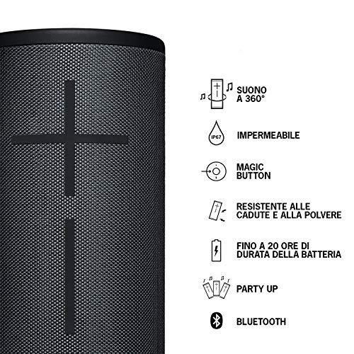 Ultimate Ears Megaboom 3 Altoparlante Wireless Bluetooth Portatile, Magic Button, Bassi Profondi, Impermeabile, Controllo Musica One Touch, Multidispositivo, Batteria di 20 h, Nero (Night Black)