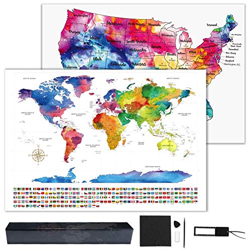 Hutikla Scratch Off Map of The World - Bonus Scratch Off USA Map, Tracks Your Adventures. Includes Precision Scratch Tool and Magnifying Glass, for Travelers 23.5' x 16.5'