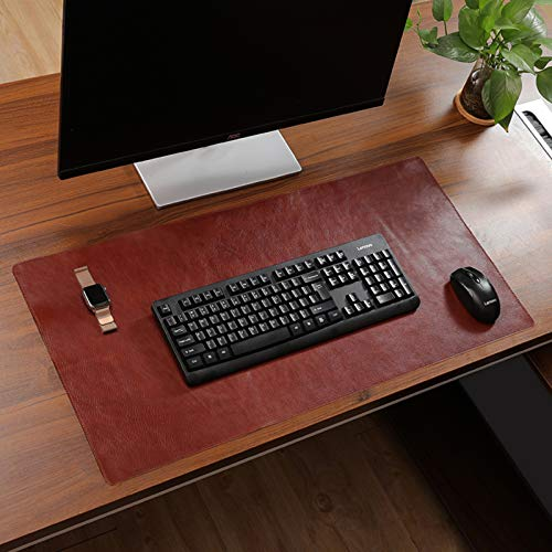 Genuine Leather Desk Pad Protector,Extended Gaming Mouse Pad Large Waterproof Office Writing Desk Non Slip Computer Home Soft Desk Mat-Brown. 50x90cm(20x35inch)