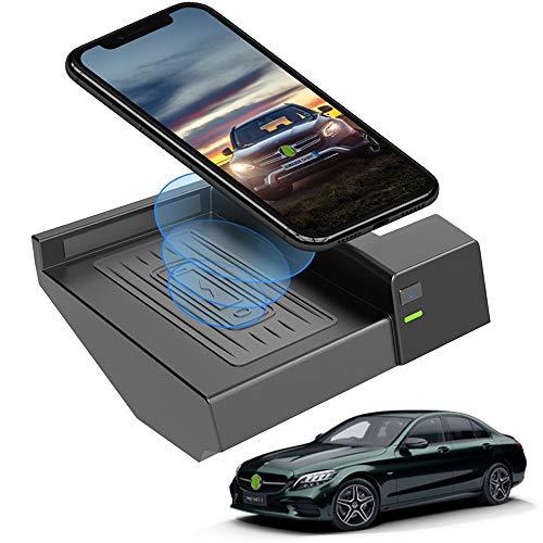 caricatore wireless w177 Braveking1 Caricatore Wireless Auto 10W Qi Rapida Ricarica 3 Bobine Telefono Pad per Mercedes-Benz C-Class GLC 2020 2019 2018 2017 2016 Pannello Accessori Console Centrale per iPhone Samsung Huawei