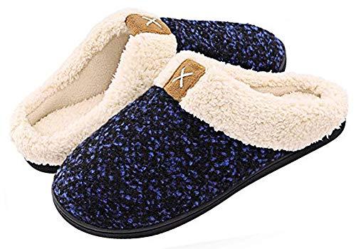 Zapatillas de Estar por casa Mujer Hombre Espuma de Memoria Invierno Interior Pantuflas Caliente Forro Ultraligero Cómodo y Antideslizante,Azul,38/39 EU(270MM)