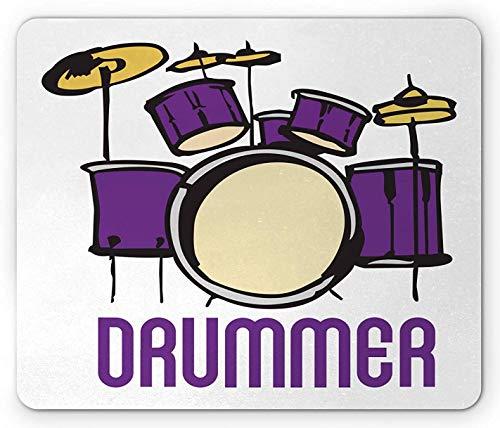 Drums Mouse Pad, Long Font Drummer Wording mit grafischer Instrumentensilhouette im Cartoon-Stil, rechteckiges rutschfestes Gummi-Mousepad, Standardgröße, Senf Lila Weiß