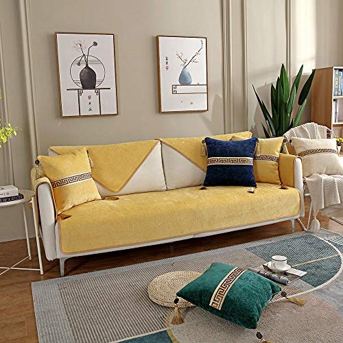 YUTJK Chinesische Moderne Sofamatte,rutschfest Quilten Gewaschen Multi-Größen Abschnittsweise Sofabezug,Vier Jahreszeiten universell Möbelschutz,Für Schlafzimmer,Gelb