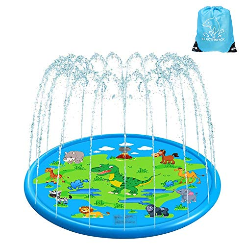 ELECTRAPICK Sprinkler Matte Kinder Wasserspielzeug Garten 175cm Wasserspielmatte für Kinder Baby (Blau)