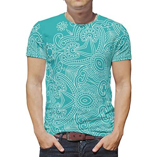 O2ECH-8 Männlich Boho T-Shirts Teen Studenten Top, LightSeaGreen Mandala Personalisiert - Ethnischer Stil Muster gedruckt Batik Tragen White 2XL