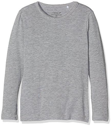 NAME IT Nkfviola Ls Slim Top Noos, T-Shirt À Manches Longues Uni Col Ras Du Cou Manches Longues Bébé fille, Gris (Grey Melange), 98 (Taille fabricant: 98)