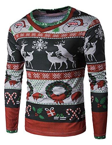 YCHENG Hombre de Navidad Camiseta Slim Fit Mangas Largas Camisas Casuales Santa Muñeco de Nieve Impresa Alces...