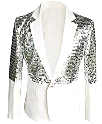 White, Sequin Glitter One Button Blazer Jacket