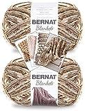 Bernat Blanket Yarn - Big Ball (10.5 oz) - 2 Pack with Patterns (Sonoma)