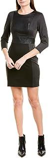 Womens Faux Leather Trim Mixed Media Mini Dress