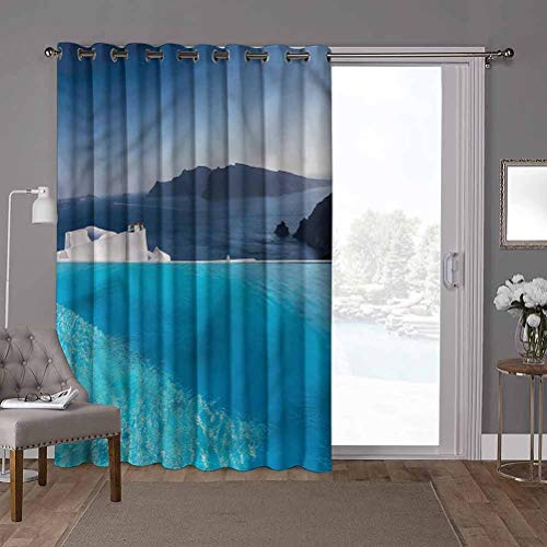 YUAZHOQI Super Heavy-Duty Thermal Sliding Glass Door Drape, Travel,Resort Pool in Santorini, W52 x L84 Inch Room Darkening Drapes for Bedroom(1 Panel)