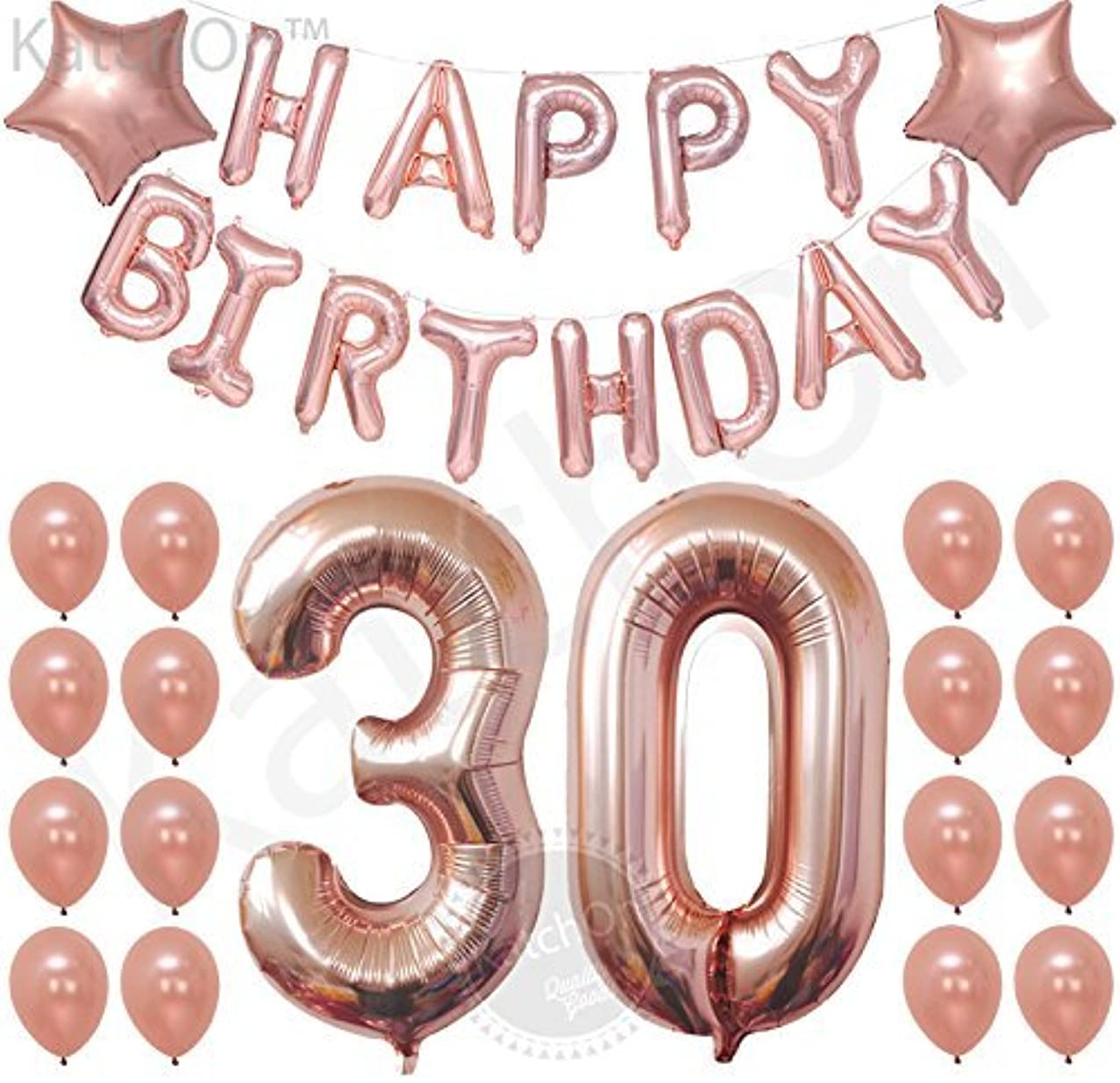 30th Birthday Decorations, Rose Gold – 30 and Happy Birthday Rose Gold Balloons Banner Great for 30th Birthday Party Supplies and Rose Gold Party Decorations, Latex and Star Mylar Rose Gold Balloons