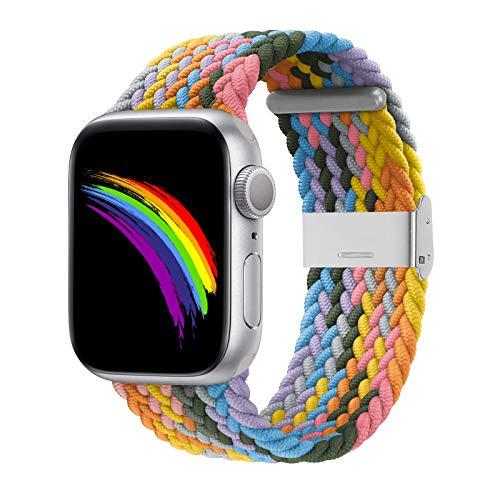 Compatible con Apple Watch iWatch bandas para hombres y mujeres, correas elásticas elásticas ajustables para iWatch Series 6/SE/5/4/3/2/1 con hebillas 38mm/40mm - 4.5'-7.9'