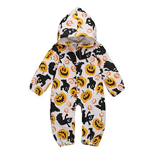 Moneycom❤ recién nacido bebé niño niña Halloween con capucha calabaza pelele traje de cumpleaños boda y fiestas blanco 12-18 Meses