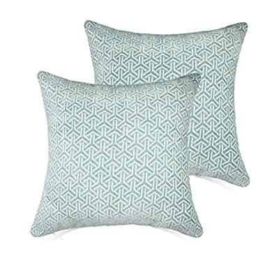 Set of 2 Throw Pillow Covers Coastal Cushions 100% Cotton Home Decorative 18 x 18 inch Soft Pillow Case Covers Invisible Zipper Decorative Pillow Case No Pillow Insert Furniture Cushions (03-Blue)