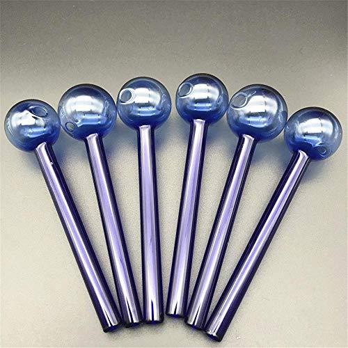 4 Zoll Länge 10 Stück Pyrex Glas Ölbrenner Rohr Dick Bunte Handrohre Rauchzubehör Bong Pipe Dab Oil Rig (Blau)