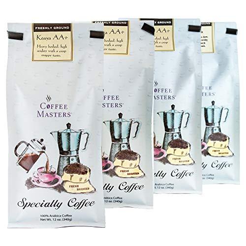 Coffee Masters Gourmet Coffee, Kenya AA, Ground, 12-Ounce Bags (Pack of 4)