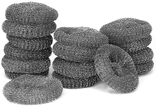 com-four® 16-teiliges Sparpack Topfreiniger aus Metalldraht, Scheuer Pads zum Reinigen von Backöfen und Herdplatten (16 Stück Metall Reiniger)
