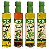 Olidi Organic Flavored Extra Virgin Olive Oil Set: Garlic, Basil, Chili, Lemon, Pack of 4