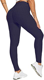 SotRong Damen Hohe Taille Yogahosen Geraffte Gym Leggings Strumpfhosen Bauch Kontrolle Po Lifting