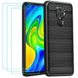 ivoler Case for Xiaomi Redmi Note 9 + 3 Pack Tempered Glass