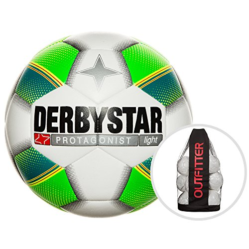 Derbystar Protagonist Light Trainingsball Ballpaket Fußball Ball, Weiß/Grün/Gelb, 5